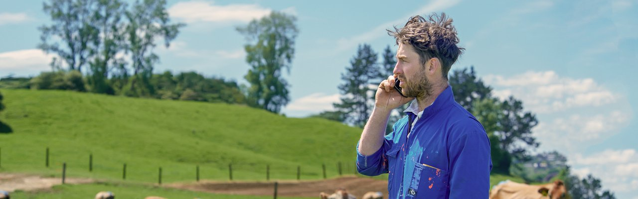 Farmer on phone News landing